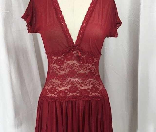 La Boudoir Miami Coquette Red Lace Sheer Nightgown