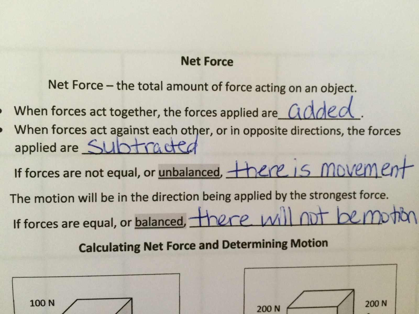 Balanced And Unbalanced Forces Worksheet Middle School