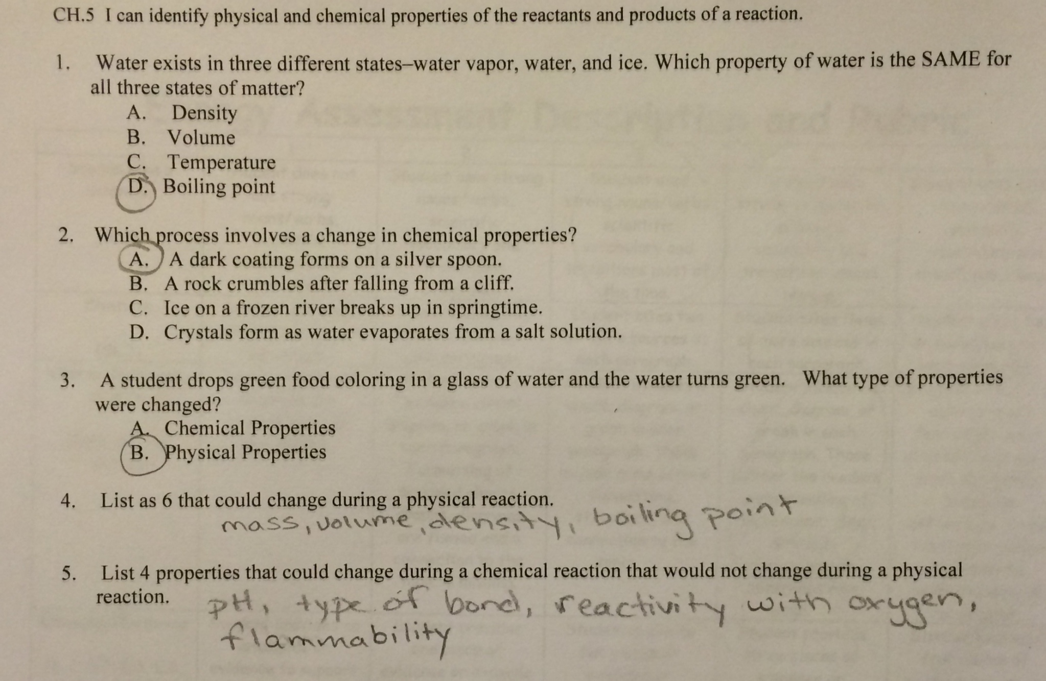 Worksheet Physical Vs Chemical Properties Worksheet