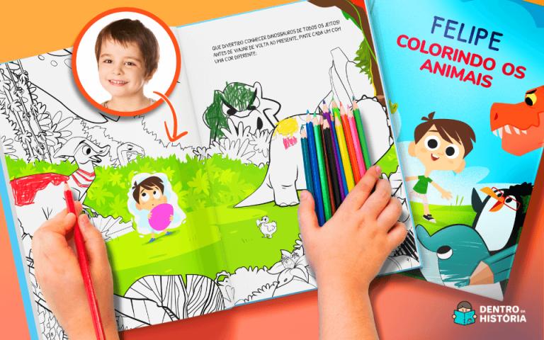 Ilustração mostrando livro para colorir da Dentro da História