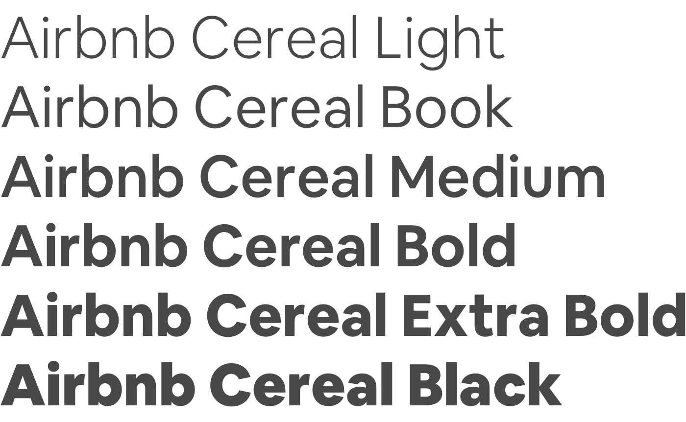 Example of Airbnb's font, Cereal.