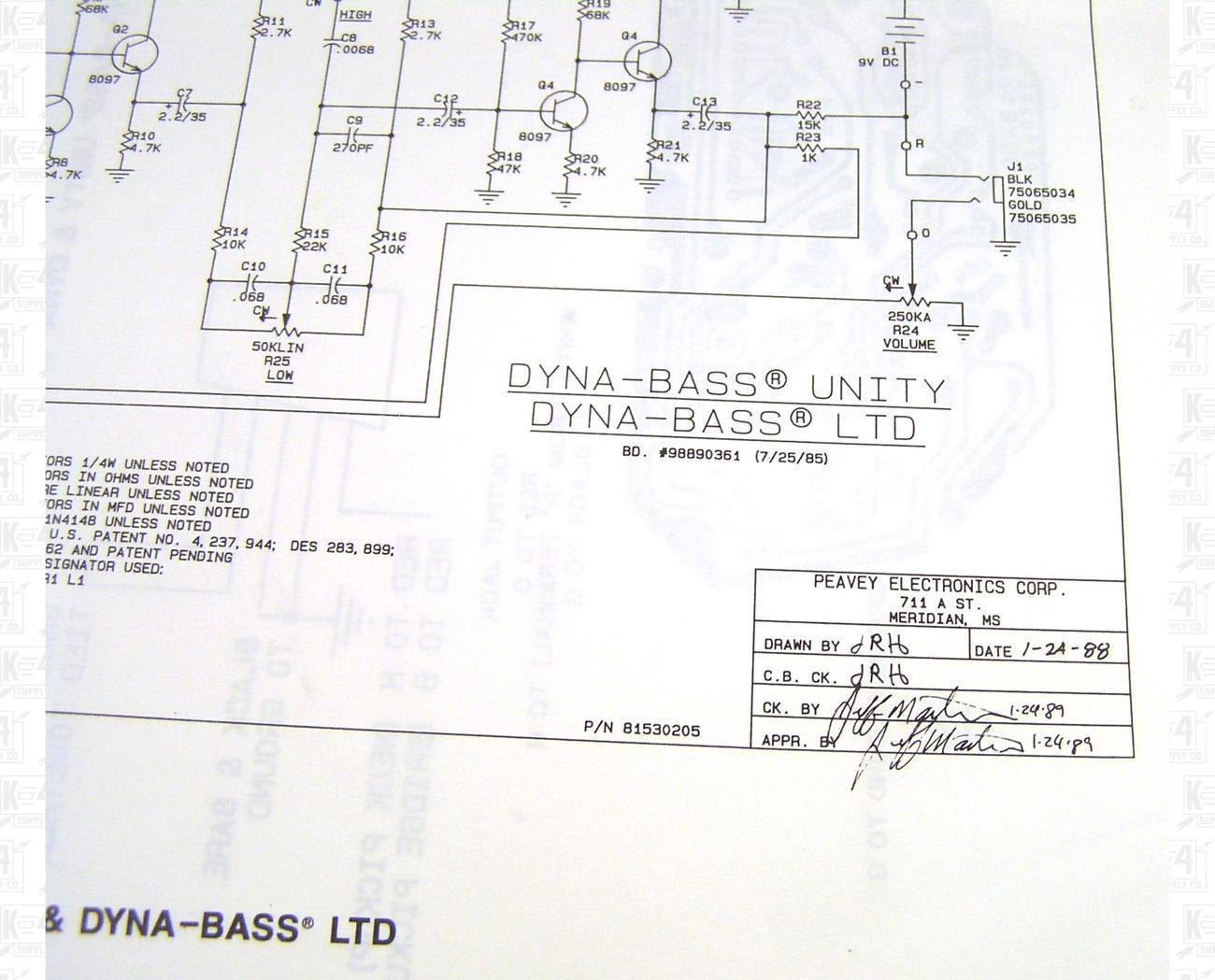 Peavey Dyna Bass Unity Ltd Preamp Schematic And Diagram