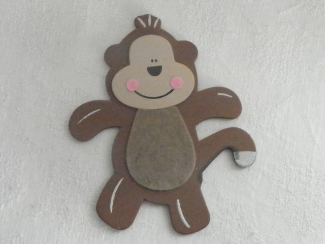 Monkey Wooden & Felt Painted Shape Cut Out Crafts Scrapbooking Jungle ...