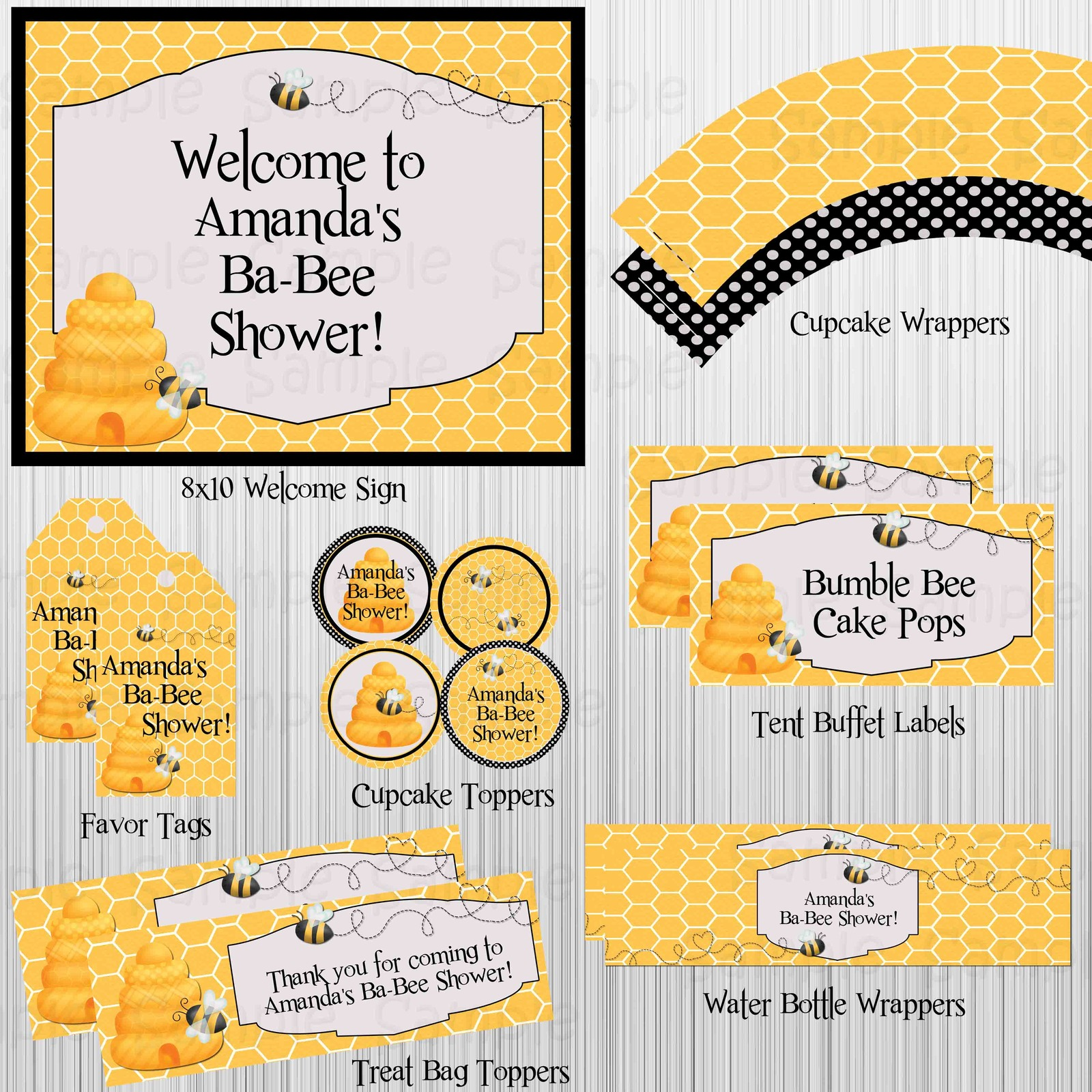 Bumble Bee Baby Shower Printable Party Package Invitation
