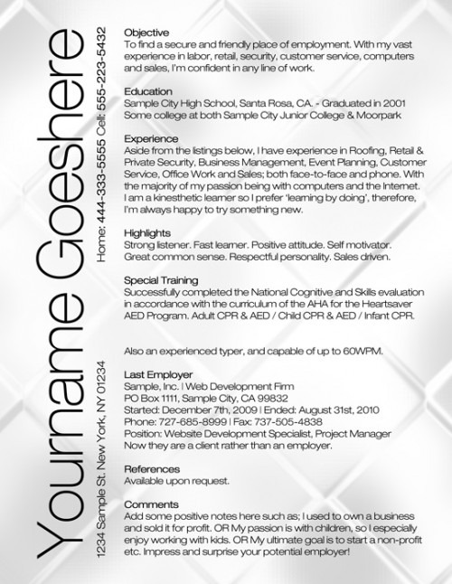 Classic Resume Template Word. Resume Templates Coming With 6 Pre