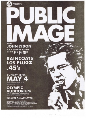 Flyer for the 1980 PiL show; Los Lobos were late replacements for the .45s