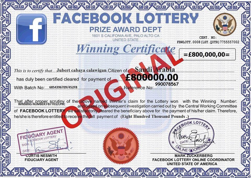 Facebook Lottery Winners