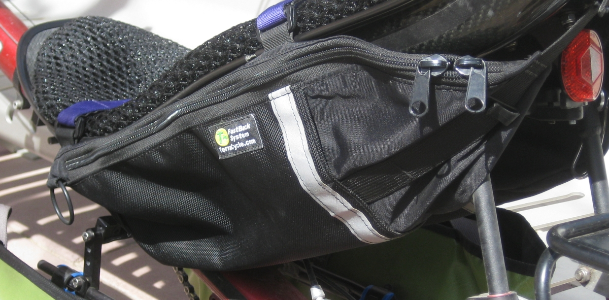 Left side Terracycle FastBack Double Century Hydration Pack strapped to my Volea Carbon Fiber seat