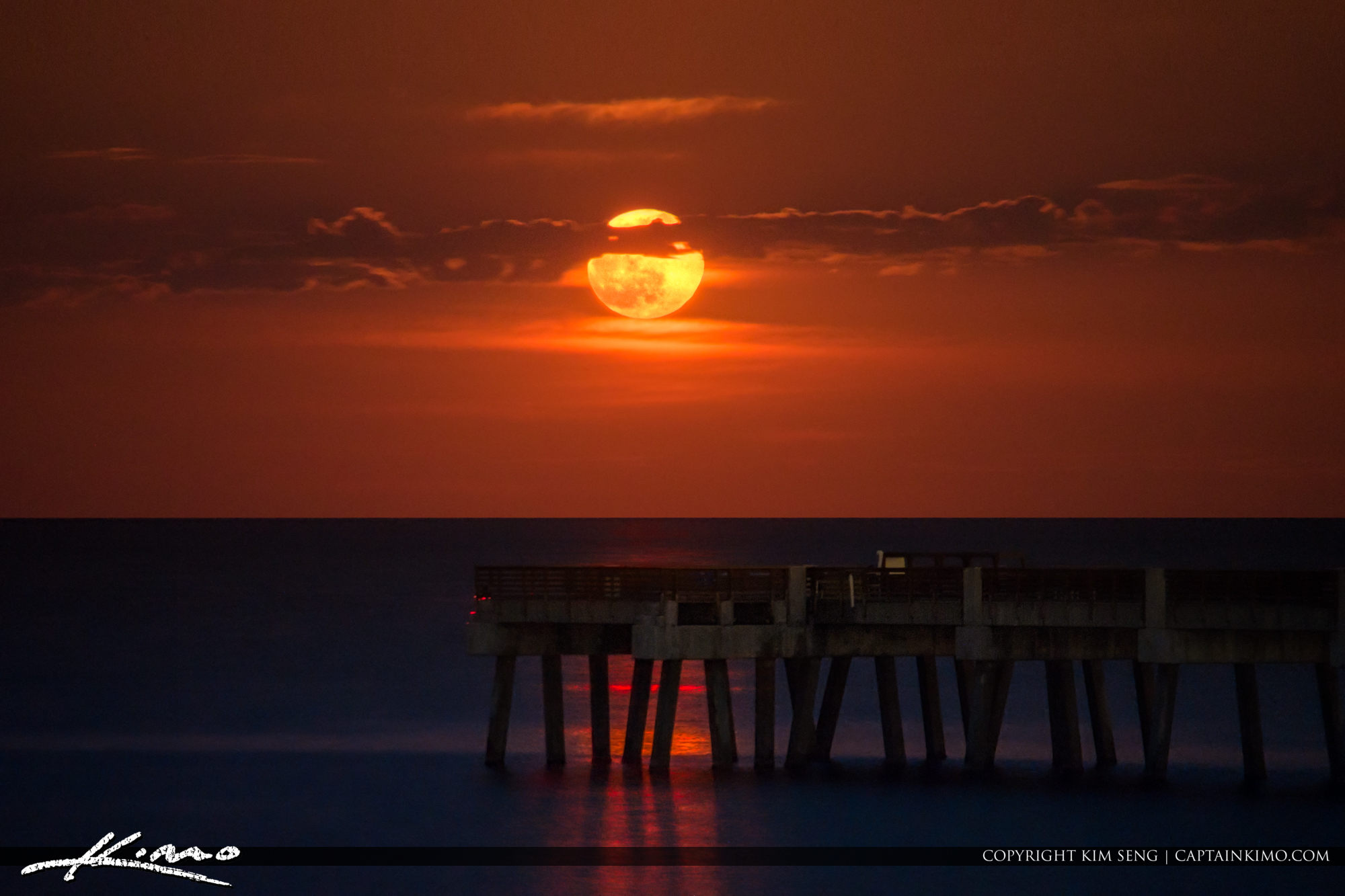 Glowing Moon Rise Over Juno Beach Pier