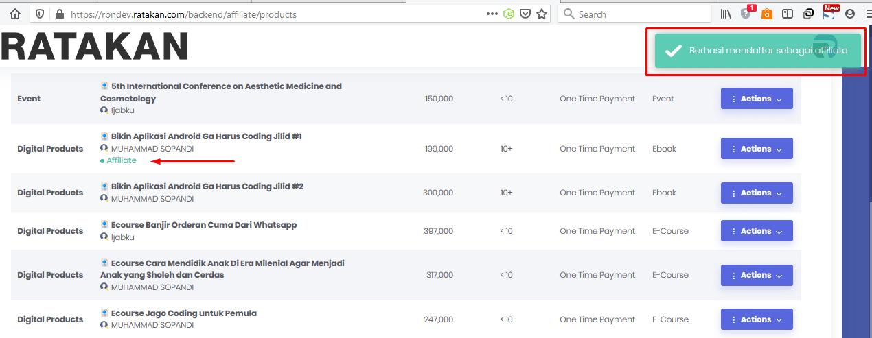 Cara Daftar Affiliate Ratakan