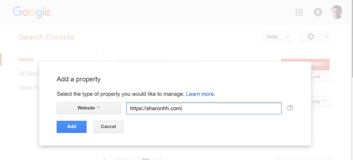 谷歌搜索控制台添加屬性