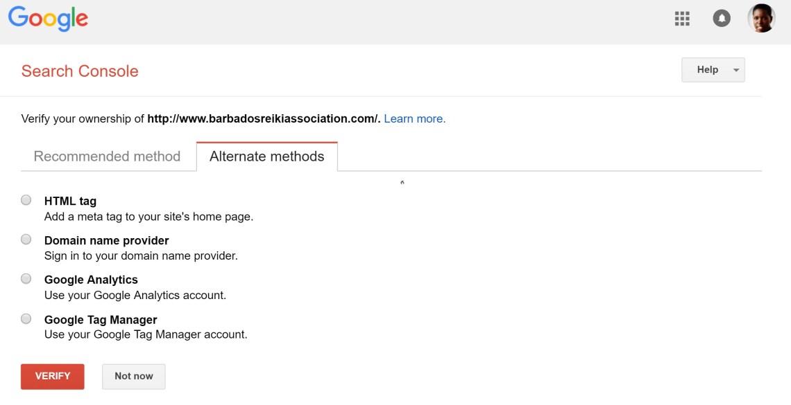 谷歌搜索控制台備用驗證