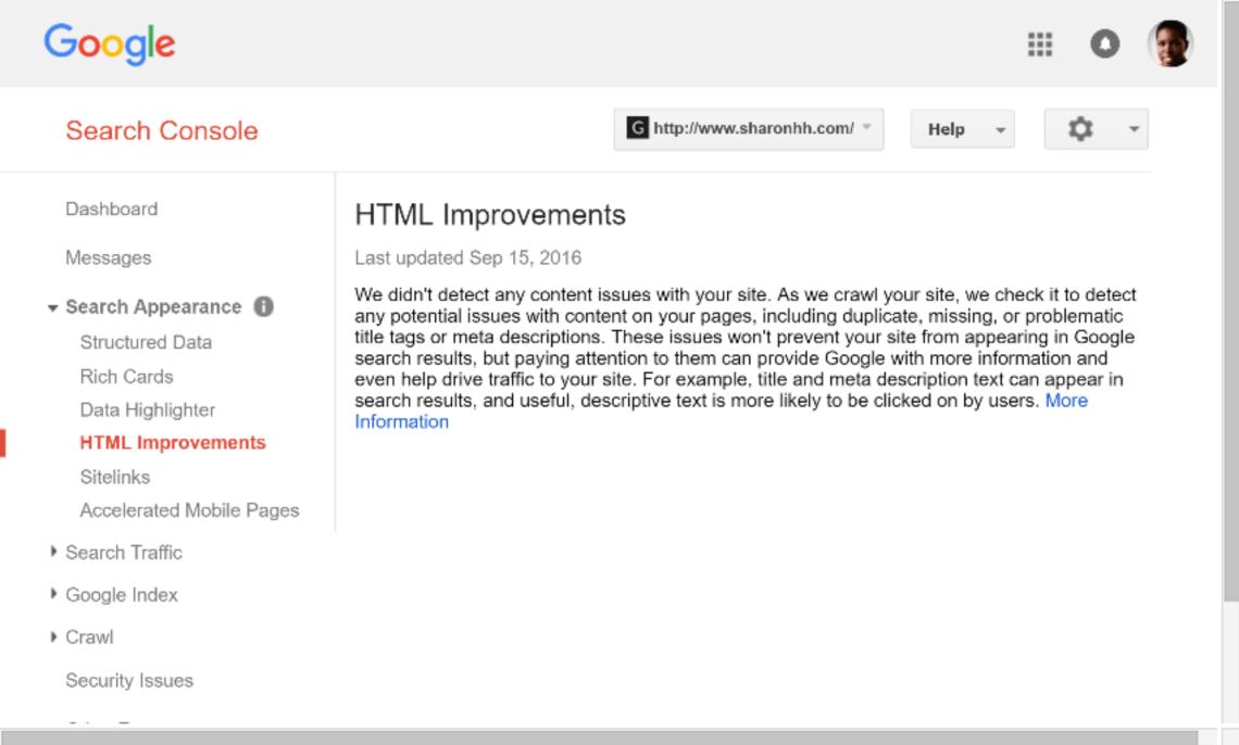 谷歌搜索控制台html改進