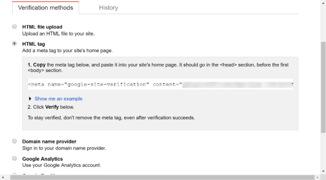 谷歌搜索控制台元標記