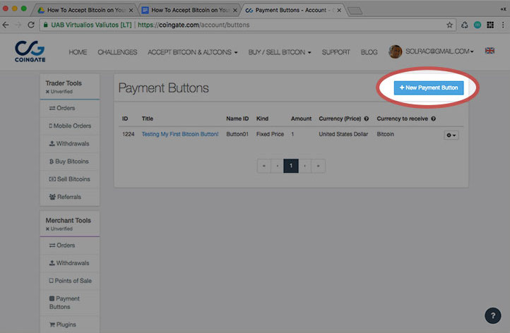How To Accept Bitcoin on Your Website New payment button