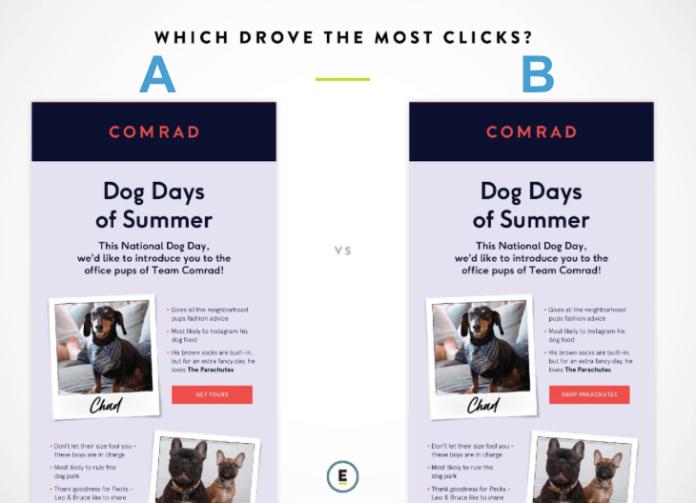 Email Design A/B test: CTA copy