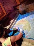 This was a projection that changed as the kids moved the material around, so that the topography was colored...