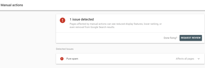 Screenshot of a site non-compliance on Google Search Console