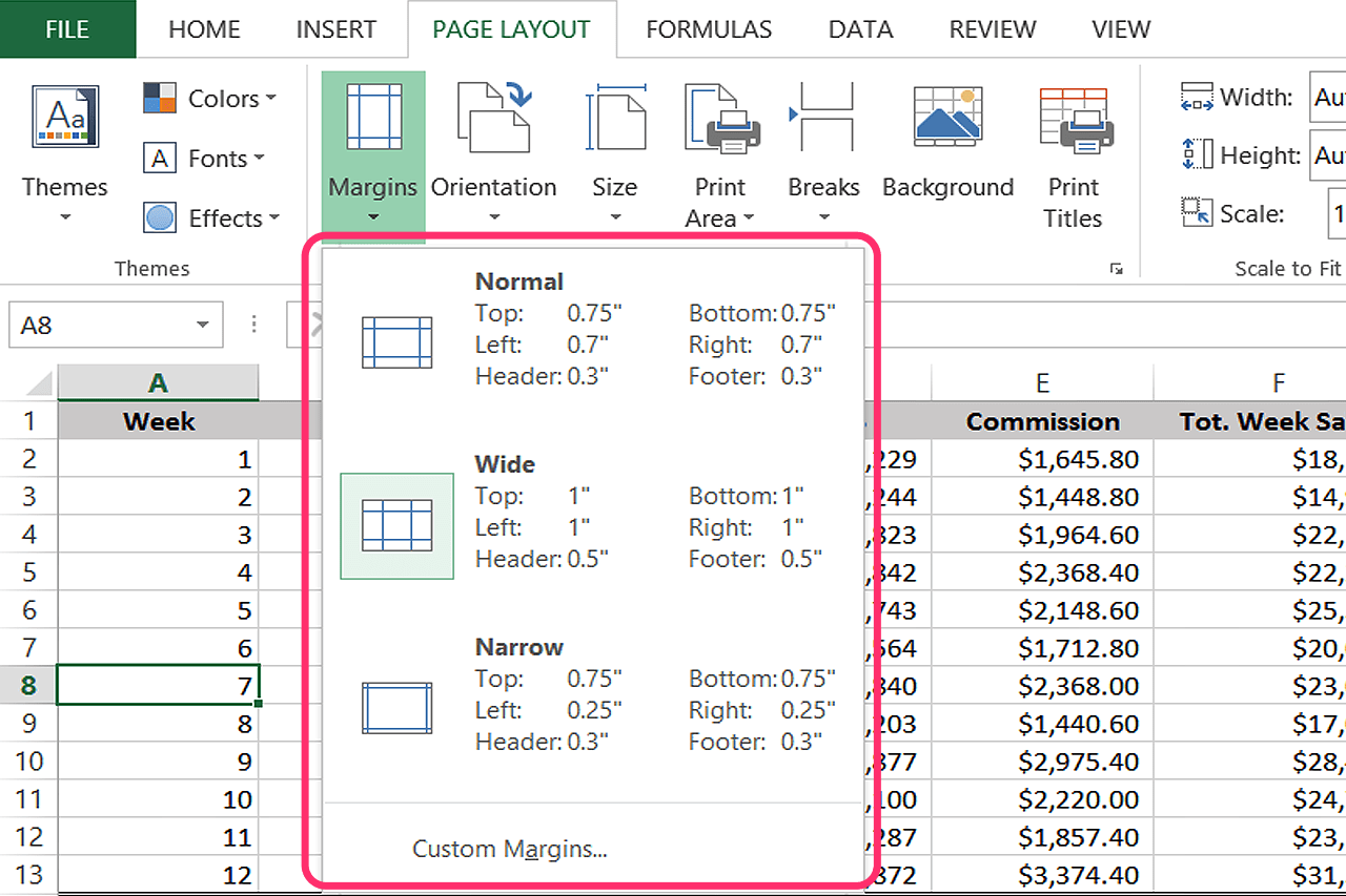 Change Page Margins To Wide In Excel Without Changing