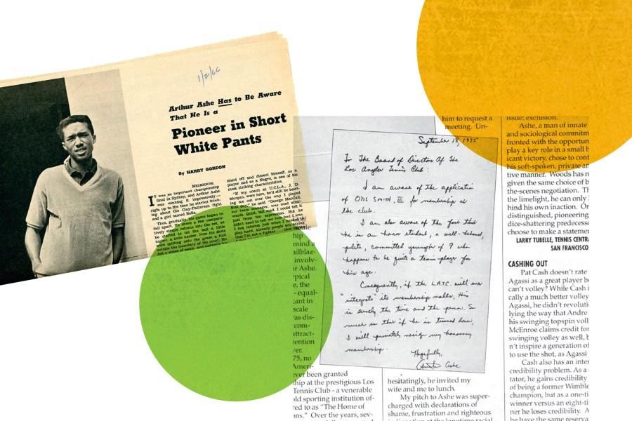 Coupures de journaux d'archives: lettre d'Arthur Ashe demandant l'approbation de l'adhésion d'Otis Smith au Los Angeles Tennis Club. Ashe a figuré dans le New York Times en 1966.