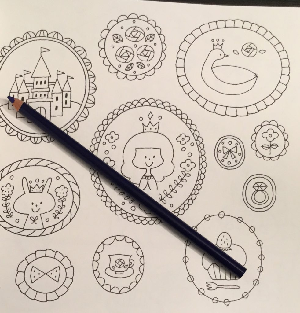 The coloring book analysis -  Sticker Shapes In Japanese Colouring Book