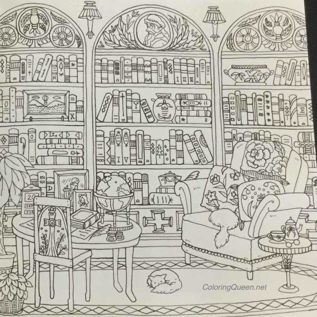 Laden With Books Coloring This Library Will Be Fun In Romantic Country