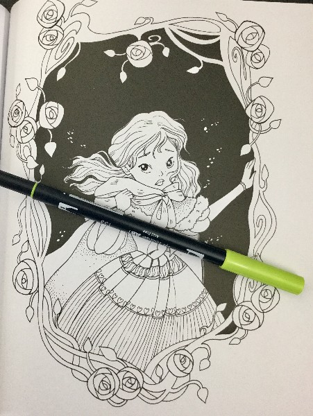 beauty with a black background - Beauty And The Beast Coloring Book