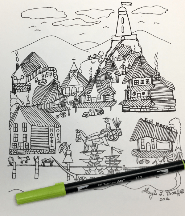 Scenic lighthouses coloring book 29 - American Folk Art  Coloring Book Review