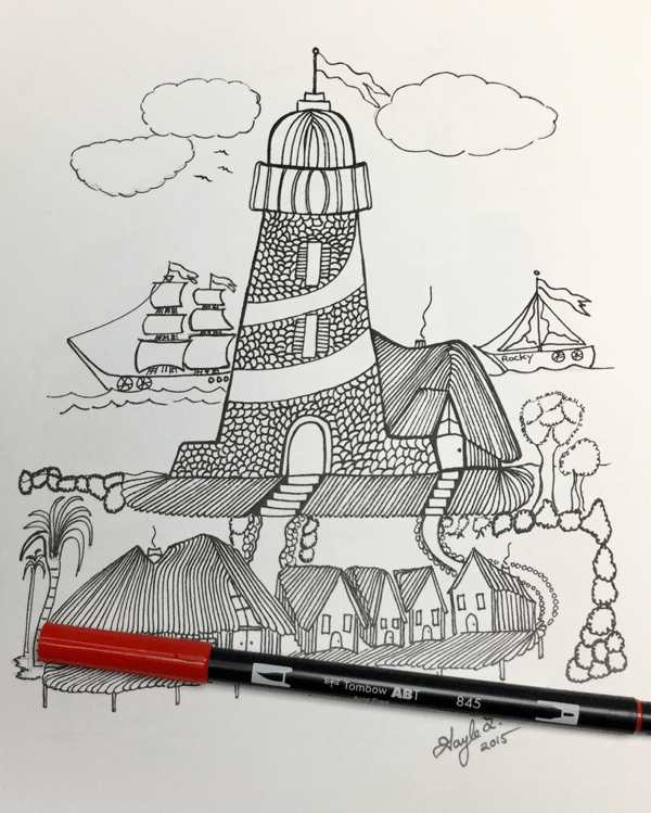 Scenic Lighthouses coloring book with ship in the background
