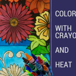 coloring with crayons and heat - What to do with your coloring pages? Quick paper mache bowl