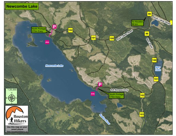 Newcombe Lake   Houston  BC   Houston Hikers Society   Avenza Maps Preview and Coverage
