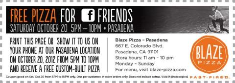 Free Pizza Day October 20th!