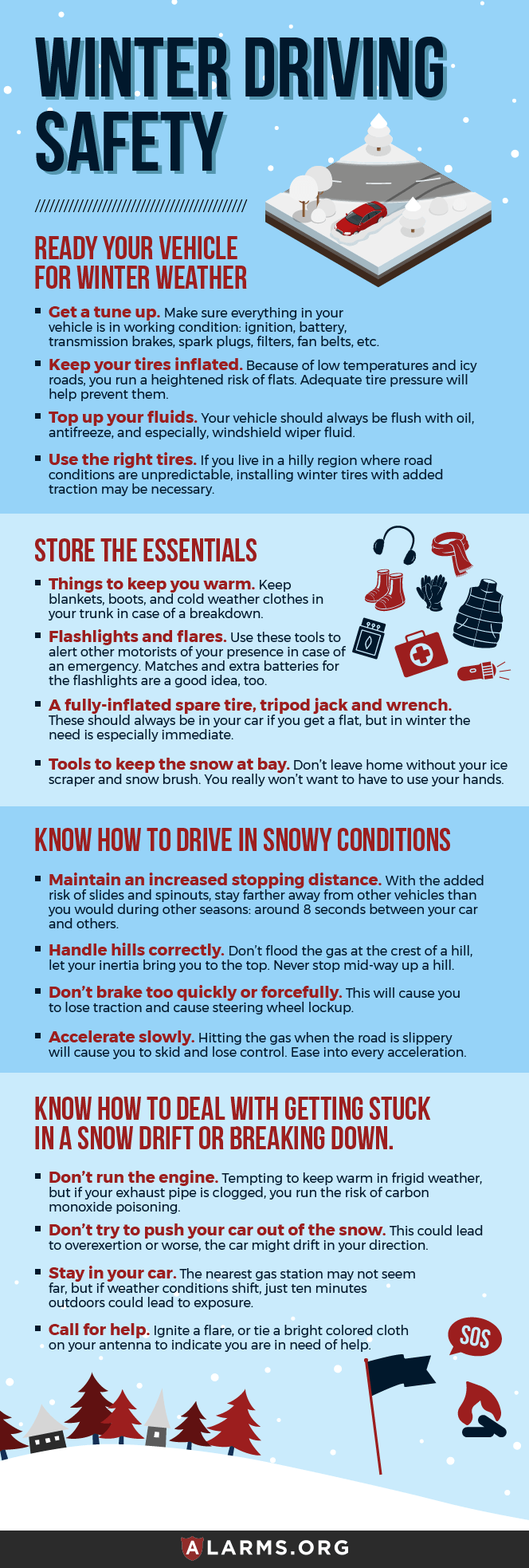 winter driving safety infographic