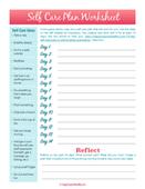 Printable   self care plan worksheet 150.pages