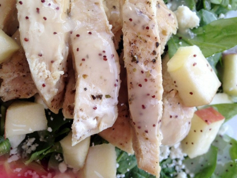 Spinach Chicken Salad with Apples and Goat Cheese