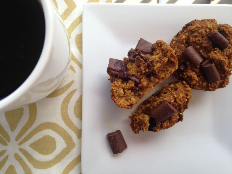 Healthy Pumpkin Spice Muffins with Chocolate Chunks