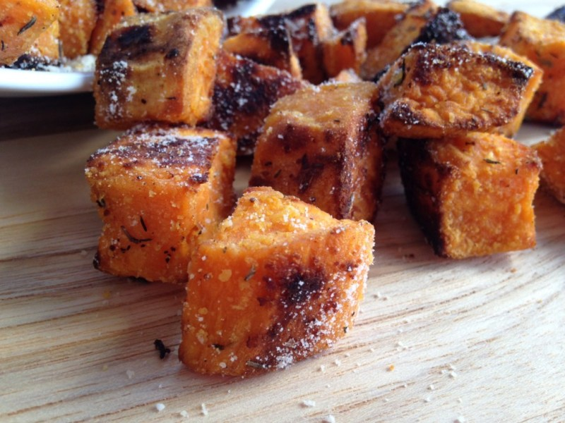 Roasted Parmesan Garlic Sweet Potatoes