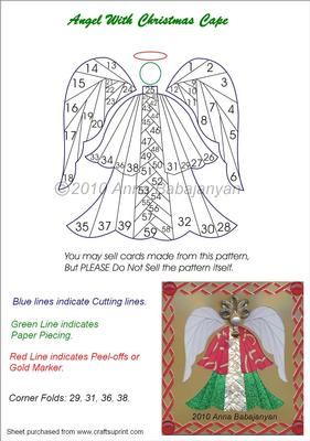 Angel With Christmas Cape Iris Folding Pattern