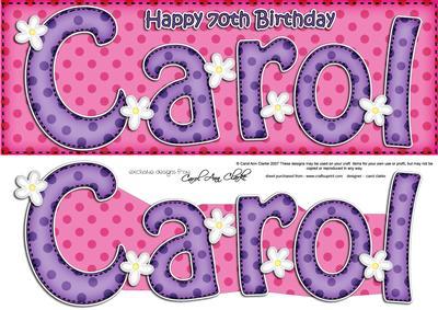 Large Dl 70th Birthday Carol Quick Card N 3d Decoupage Cup400820 359 Craftsuprint