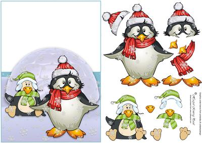 Over The Edge Penguin Decoupage Christmas Card CUP116463