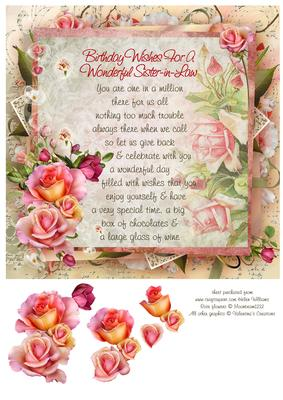 Pink Rose Sister In Law Birthday Verse 8x8inch Step By