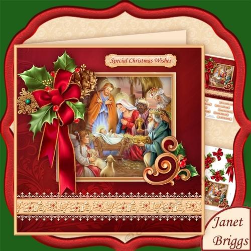 CHRISTMAS HOLLY RIBBON Nativity 78 Decoupage Mini Kit