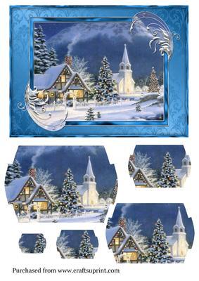 A5 Christmas Vintage Village Church Scene CUP4794171952