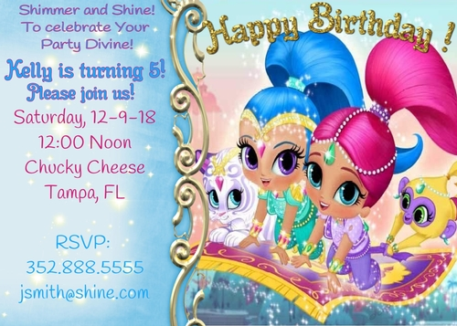 Shimmer And Shine Personalized Birthday Party Invites Invitations Cup895421 2049 Craftsuprint