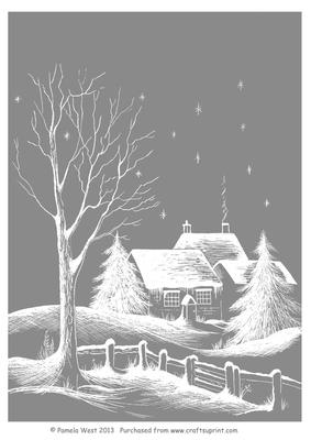 A4 Cottages In Snow Background Sheet CUP465283117