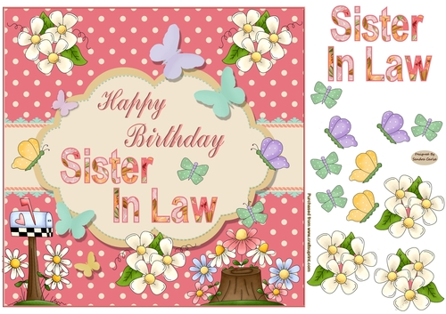 Happy Birthday Sister In Law Butterfly Topper Cup772817 719 Craftsuprint