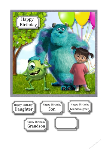 Monsters Inc Birthday Cup897032 43516 Craftsuprint