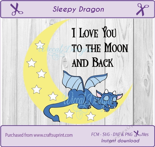 Download Sleeping dragon, love you to the moon and back svg cutting ...