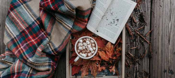 hot cocoa and open book