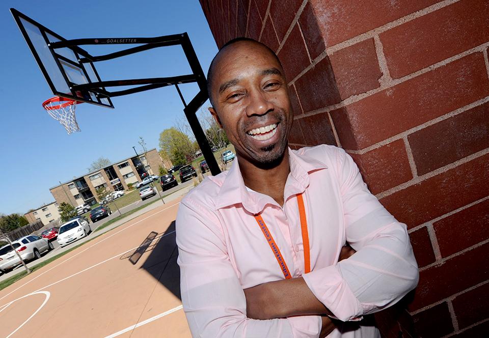 photo of sammy white on a basketball court